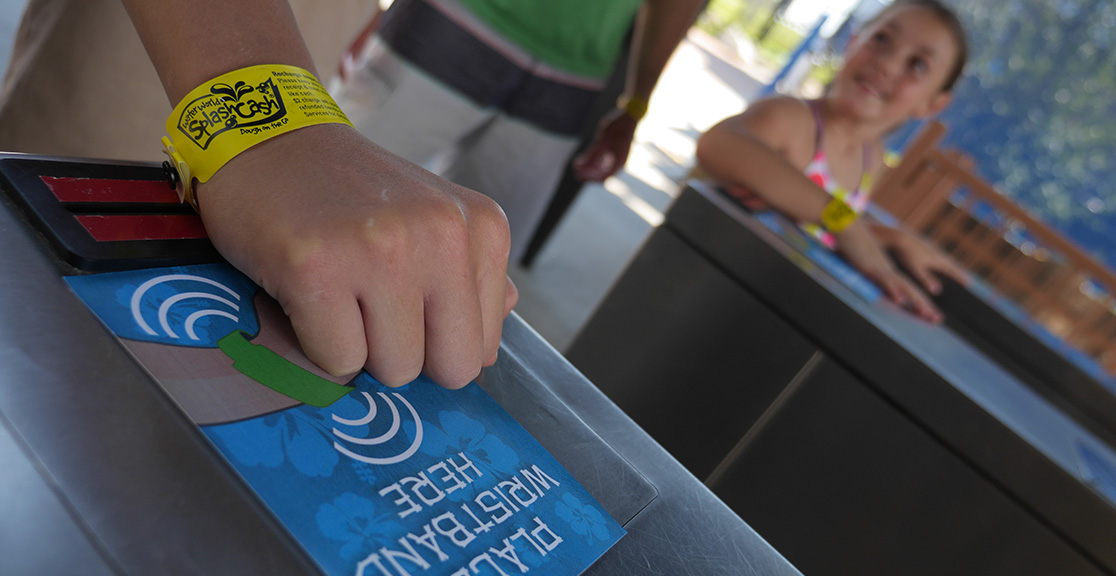 PDC Smart Wristbands enable streamlined automated access through park turnstiles