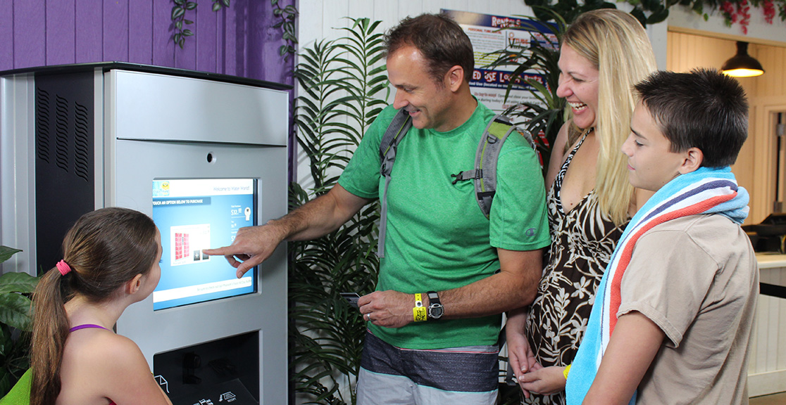 PDC Smart Wristband Kiosk enables guess to purchase admissions, locker rentals and more!